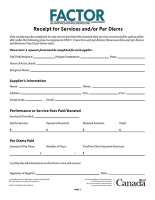 Receipt For Services And Or Per Diems